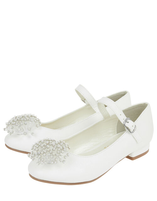 Crystal Bead Pom-Pom Mini Heels, Ivory (IVORY), large