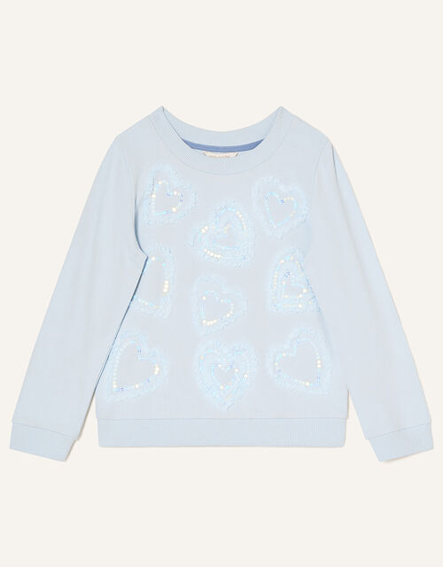 Tulle Heart Sweat Top, Blue (BLUE), large