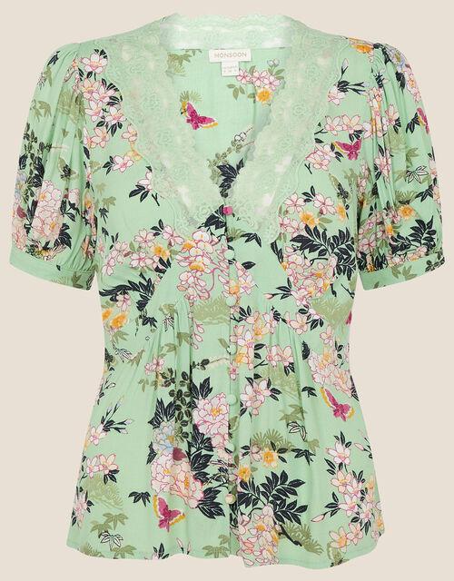 Oriental Print Lace Trim Blouse, Green (GREEN), large