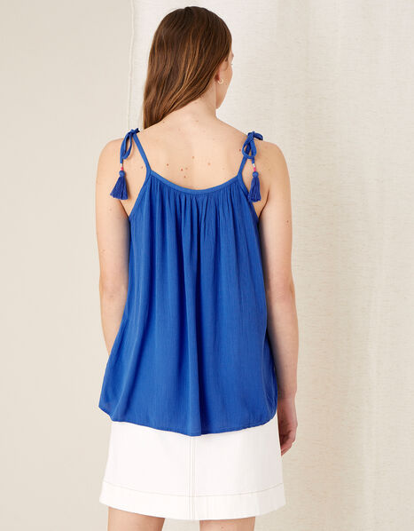 Embroidered Cami Top in Pure Cotton Blue, Blue (BLUE), large