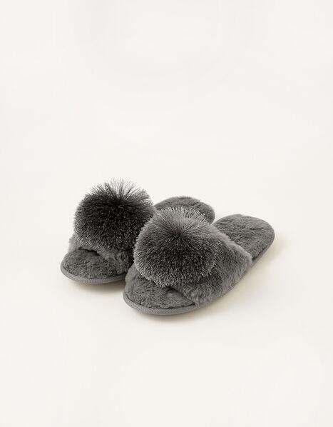Faux Fur Pom-Pom Slippers Grey, Grey (CHARCOAL), large