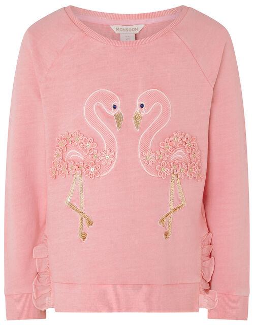 Flamingo Embellished Sweatshirt, Orange (CORAL), large