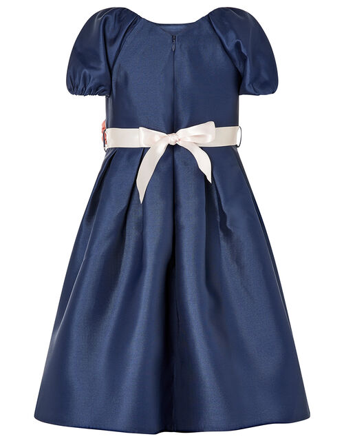 Corsage Belt Puff Sleeve Dress, Blue (NAVY), large