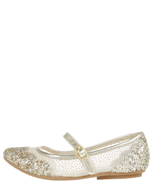 Primrose Glitter Princess Ballerina Shoes, Gold (GOLD), large