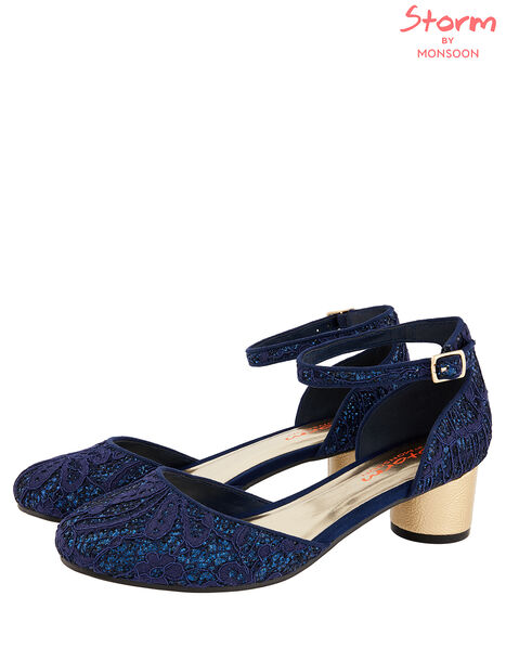 Glitter Lace Two-Part Heeled Shoes Blue, Blue (NAVY), large