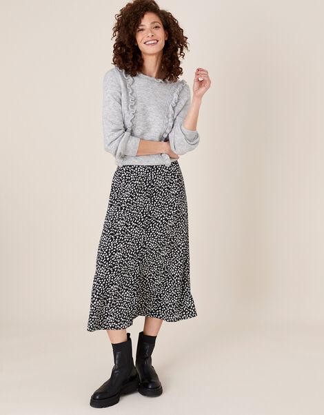 Monochrome Heart Midi Skirt Black, Black (BLACK), large
