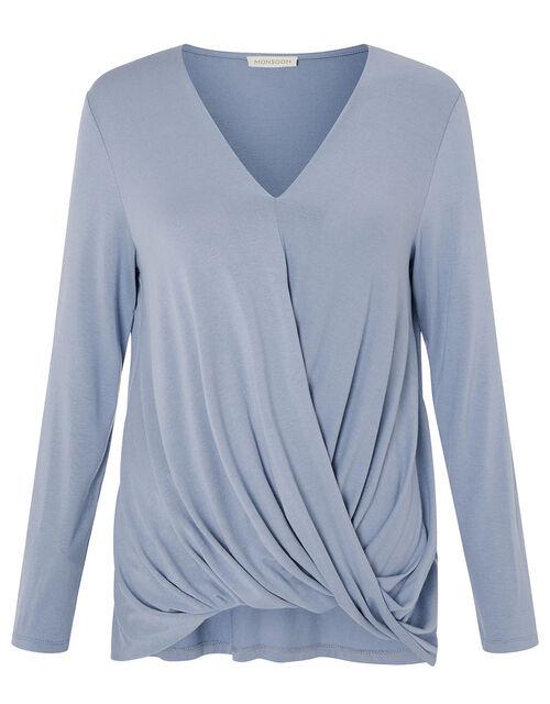LOUNGE Wendy Jersey Wrap Top, Blue (BLUE), large