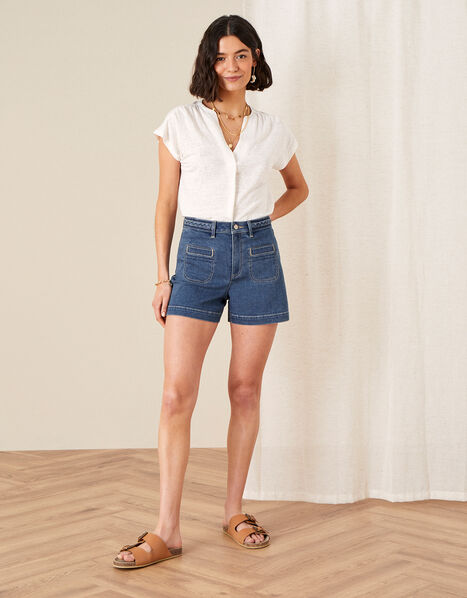 Lucille Denim Shorts with Recycled Fabric Blue, Blue (DENIM BLUE), large