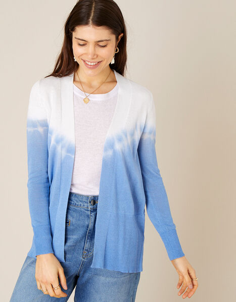 Tie Dye Cardigan in Linen Blend  Blue, Blue (BLUE), large