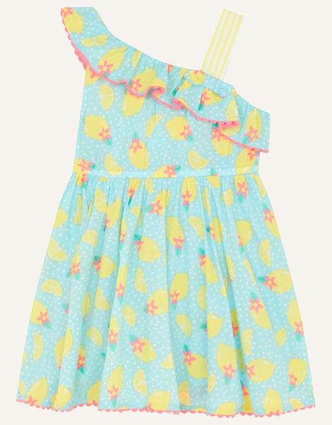Baby Lemon Print Dress Blue, Blue (TURQUOISE), large