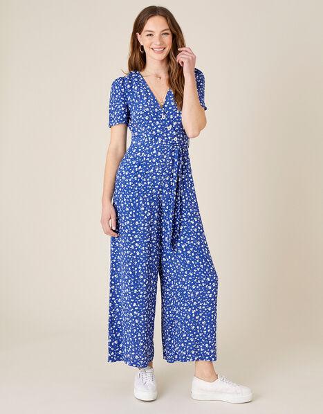 Ditsy Floral Wrap Jumpsuit Blue, Blue (BLUE), large