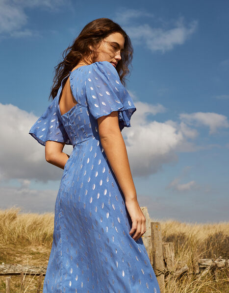 Ann Metallic Spot Maxi Dress Blue, Blue (BLUE), large