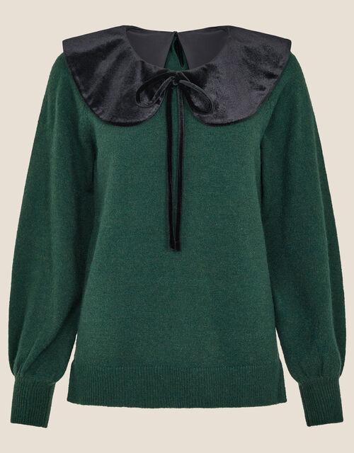 Velvet Tie Collar Knit Jumper, Green (GREEN), large