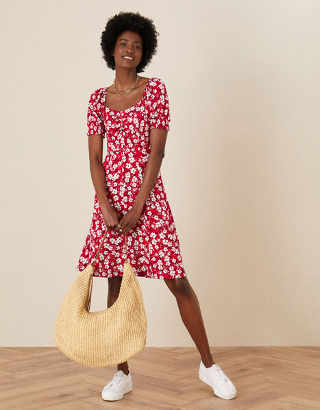 Everly Floral Print Jersey Dress  Red, Red (RED), large