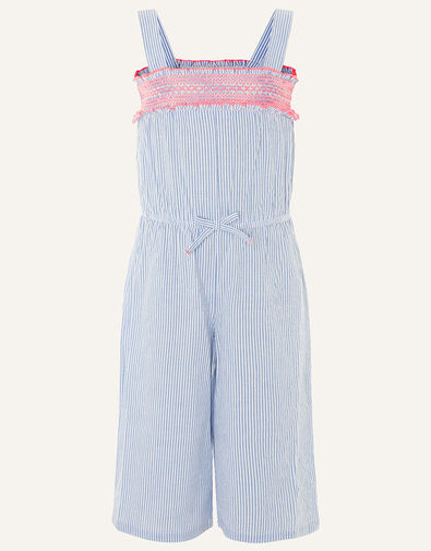 Ticking Stripe Jumpsuit in Pure Cotton Blue, Blue (BLUE), large
