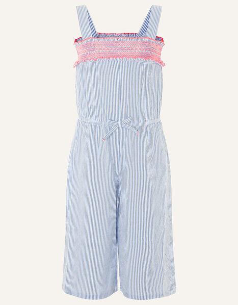 Ticking Stripe Jumpsuit in Pure Cotton Blue, Blue (BLUE), large