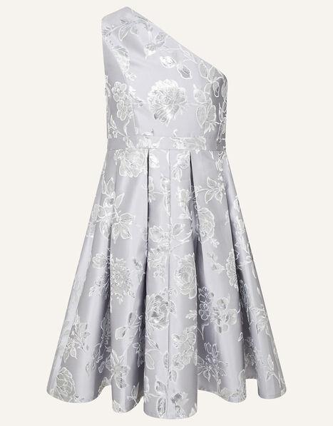 One-Shoulder Floral Jacquard Prom Dress Silver, Silver (SILVER), large