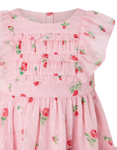 Baby Pink Rose Dress in Recycled Fabric, Pink (PINK), large