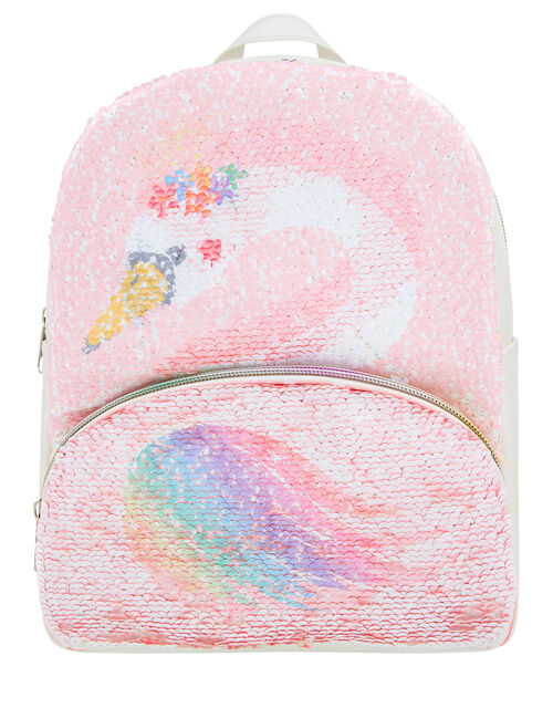 Reversible Flamingo and Swan Backpack, , large