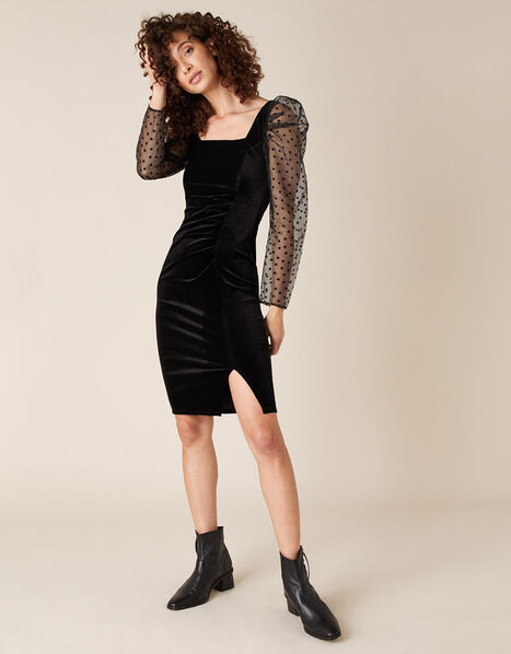 Jane Star Organza Sleeve Stretch Velvet Dress Black, Black (BLACK), large