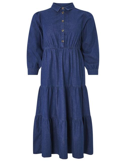 Tina Tiered Denim Dress, Denim Blue, large