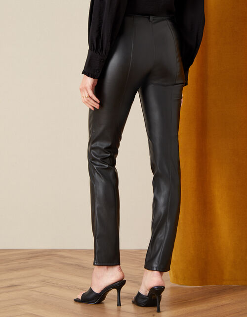 Penny Faux Leather Trousers , Black (BLACK), large