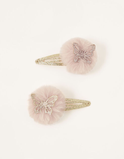 Butterfly Pom-Pom Hair Clips, , large