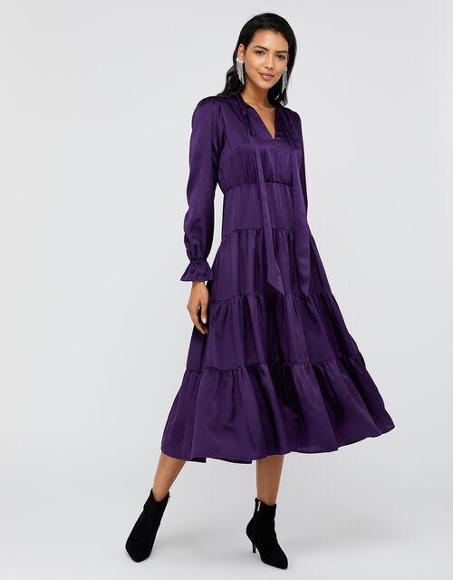 Violet Tiered Midi Dress in Silk Blend, Purple, large
