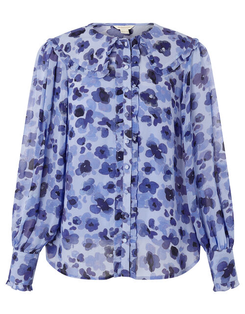 Pompea Poppy Print Frill Blouse, Blue (BLUE), large