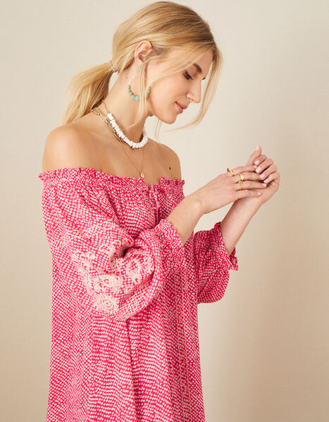 Anastasija Printed Off-Shoulder Dress Pink, Pink (PINK), large