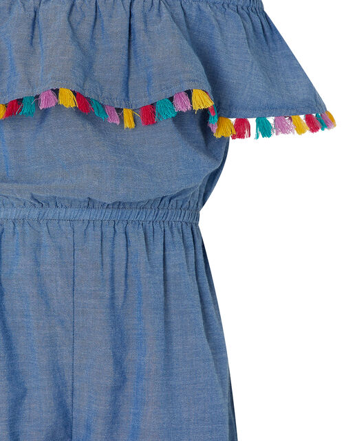 Charlie Chambray Playsuit with Tassels, Blue (BLUE), large