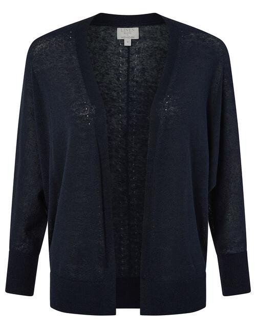 Ellie Lightweight Knitted Cardigan in Linen Blend, Blue (NAVY), large