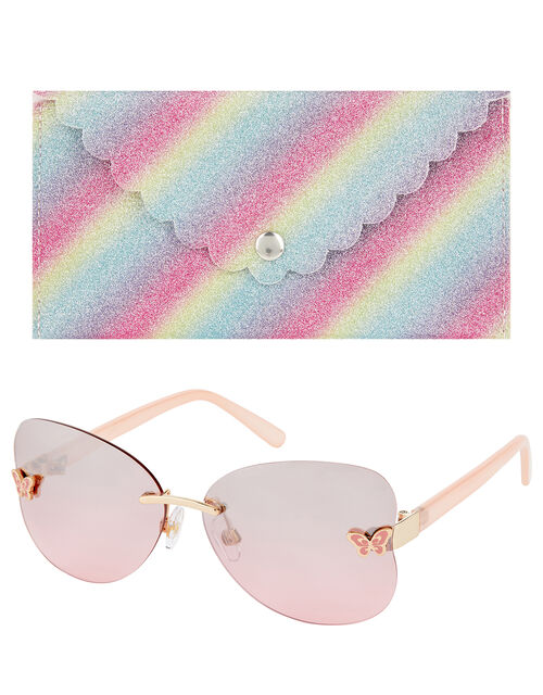 Rhea Rimless Butterfly Sunglasses with Case, , large