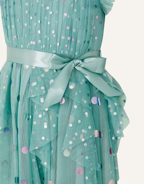 Rainbow Spot Print Frill Dress Teal, Teal (TEAL), large