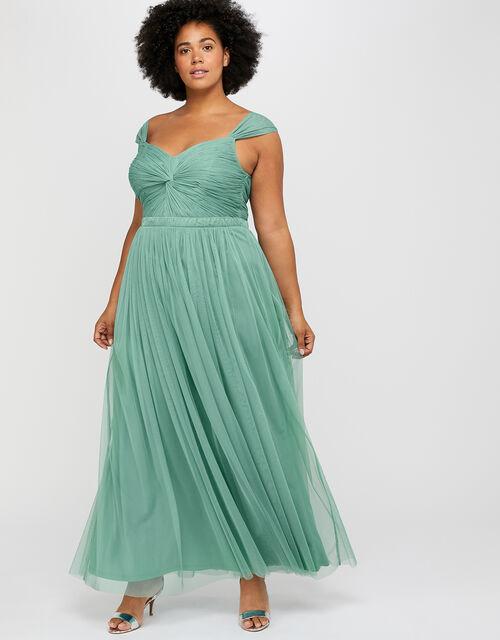 Jennifer Ruched Mesh Maxi Dress, Green (GREEN), large