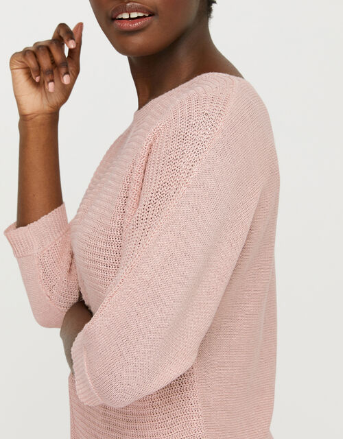 Verity Batwing Jumper in Pure Linen, Pink (SOFT PINK), large