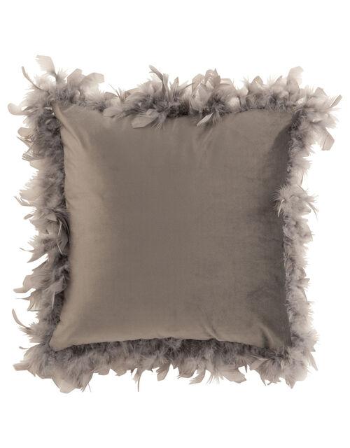 Feather Trim Square Cushion, Grey (GREY), large