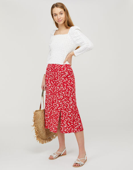 Natty Ditsy Floral Midi Skirt Red, Red (RED), large
