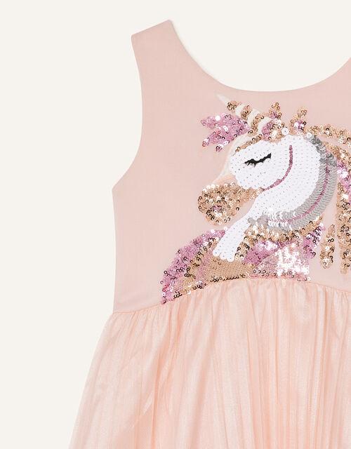 Mia Sequin Unicorn Pleated Dress, Pink (PINK), large