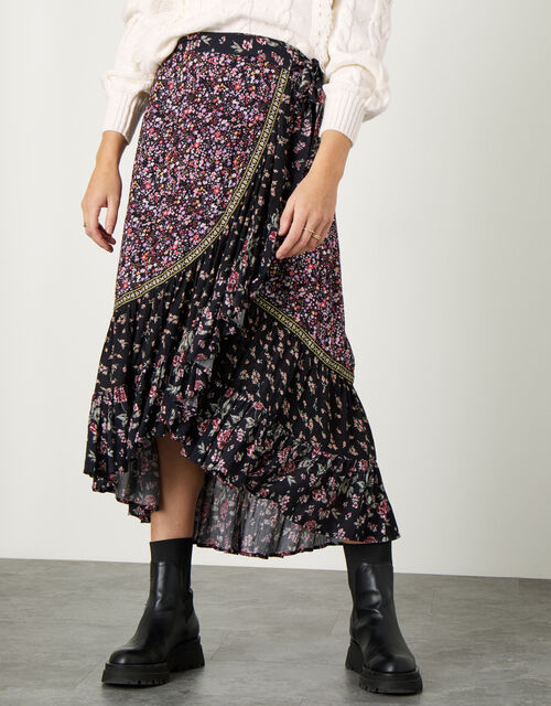 Floral Patch Wrap Skirt, Black (BLACK), large