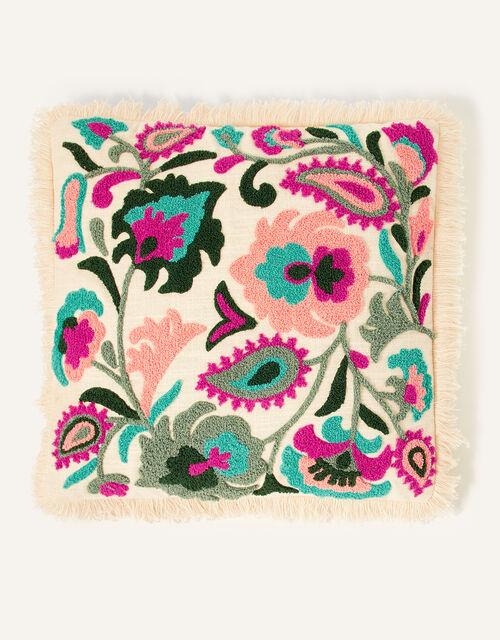 Embroidered Fringe Cushion, , large