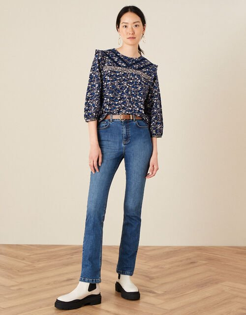 Lace Trim Printed Top, Blue (NAVY), large