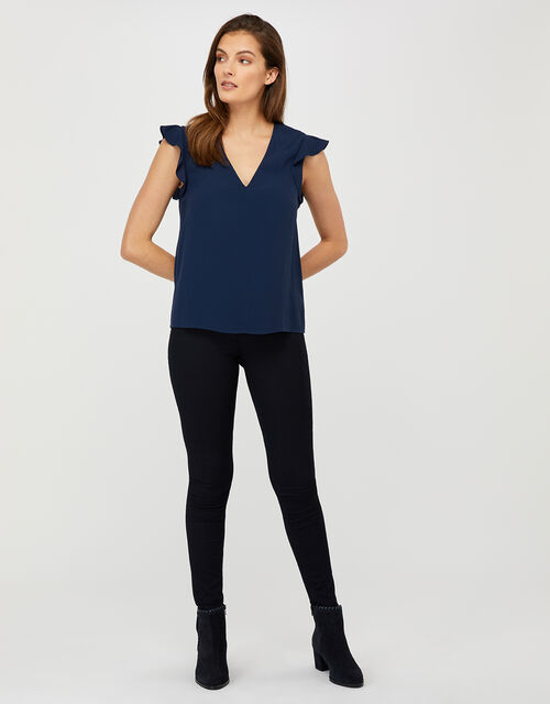 Nessa Short Sleeve Blouse in LENZING™ ECOVERO™, Blue (NAVY), large