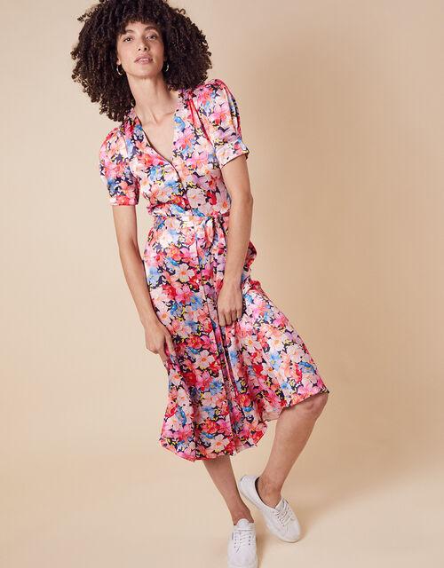 Faith Floral Print Satin Shirt Dress, Blue (NAVY), large