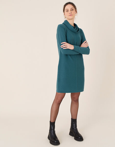 Cali Cowl Neck Knit Dress Teal, Teal (TEAL), large