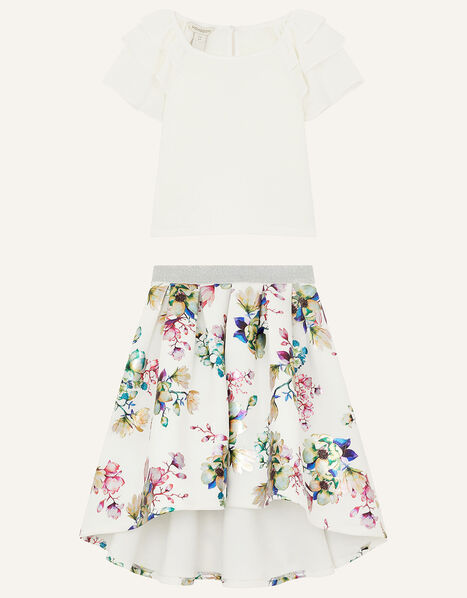 Chiffon Top and Floral Scuba Skirt Set Ivory, Ivory (IVORY), large