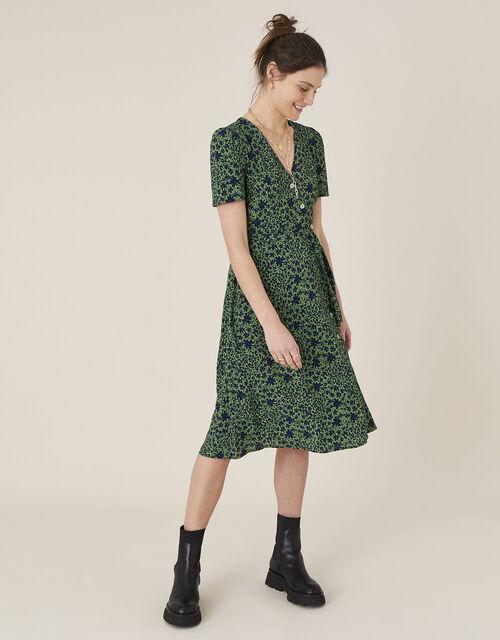 Printed Short Sleeve Wrap Dress, Green (GREEN), large