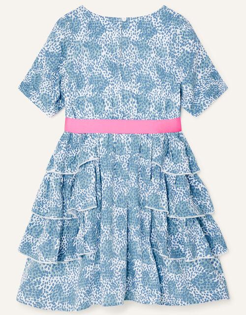 Splodge Printed Frill Midi Dress, Blue (BLUE), large