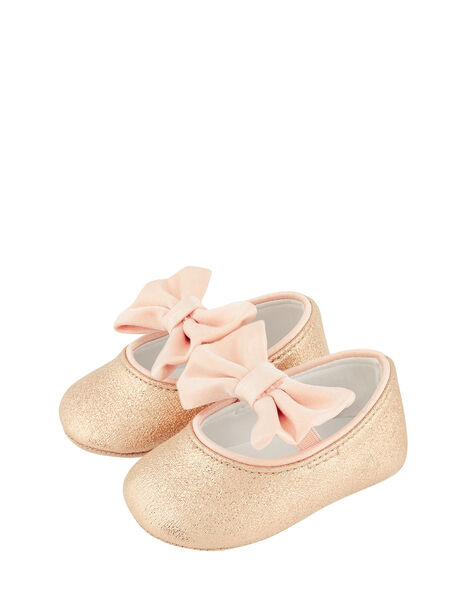Baby Samira Gold Bow Bootie Shoes Gold, Gold (GOLD), large