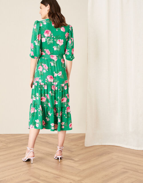 Alexis Floral Tiered Midi Dress, Green (GREEN), large